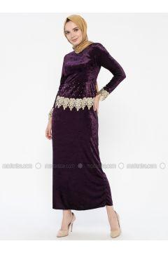 Purple - Unlined - Crew neck - Muslim Evening Dress - MEKSİLA(110318193)