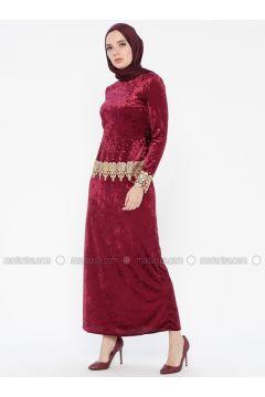 Plum - Unlined - Crew neck - Muslim Evening Dress - MEKSİLA(110318196)
