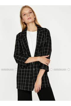 Black - Plaid - Shawl Collar - Jacket - Koton(110323644)