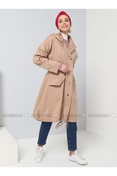 Camel - Unlined - Polo neck - Puffer Jackets - Benin(110335038)