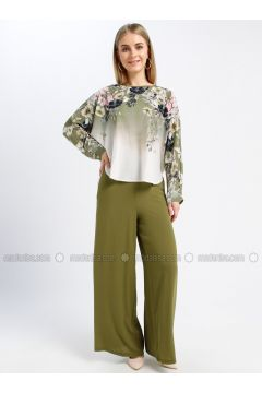 Green - Floral - Crew neck - Unlined - Dresses - Güzey(110339243)