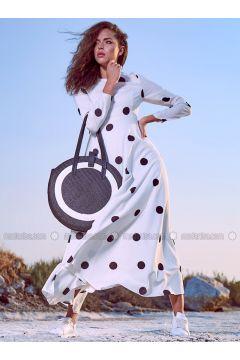 Ecru - Polka Dot - Crew neck - Fully Lined - Dresses - Eda Atalay(110331464)