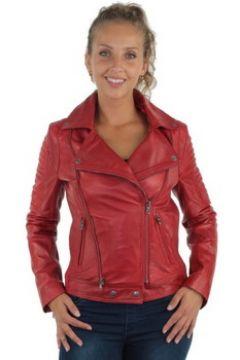 Veste Giovanni Blouson style perfecto en cuir ref_gvi37206-rouge(115555670)