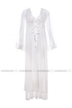 White - V neck Collar - Nightdress - Lingabooms(110316351)