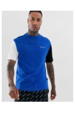 Nicce - Blaues T-Shirt mit farblich abgesetzten Ärmeln - Blau(94963389)