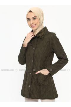 Green - Unlined - Point Collar - Coat - ECESUN(110322442)