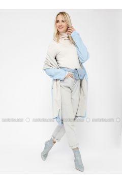 Blue - Beige - Unlined - Shawl Collar - Trench Coat - Minimal Moda(110331235)