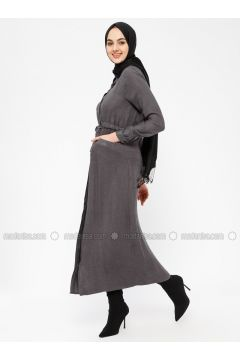 Gray - Point Collar - Unlined - Dresses - SELLY(110330471)