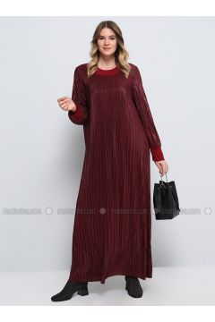 Maroon - Fully Lined - Crew neck - Muslim Plus Size Evening Dress - Alia(110326832)