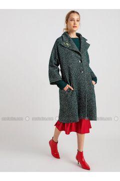 Green - Multi - Wool Blend - Acrylic - Coat - NG Style(110341250)
