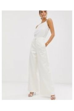ASOS EDITION - Hochzeitshose aus Satin mit weiten Beinen - Cremeweiß(95031241)