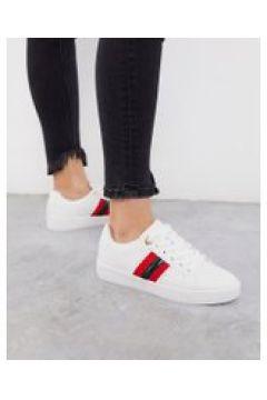 River Island - Sneakers bianche con riga laterale-Bianco(112609057)