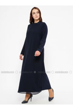 Navy Blue - Unlined - Polo neck - Plus Size Dress - Efraze(110329582)
