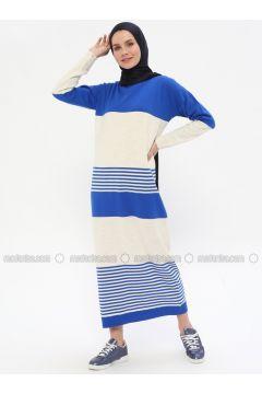 Beige - Saxe - Stripe - Crew neck - Unlined -- Dresses - Zentoni(110323372)