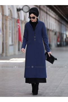 Navy Blue - Fully Lined - Shawl Collar - Jacket - Piennar(110333290)