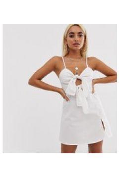 Missguided Petite - Weißes Minikleid mit doppelter Schnürung auf der Vorderseite - Weiß(94962260)