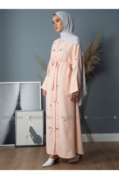 Salmon - Unlined - V neck Collar - Crepe - Abaya - Liolle(110336258)
