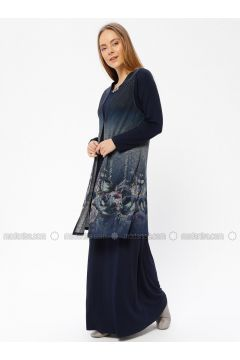Navy Blue - Multi - Unlined - Crew neck - Muslim Evening Dress - Güzey(110337576)