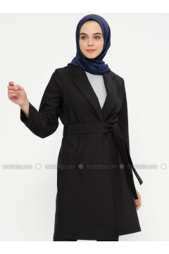 Navy Blue - Unlined - Shawl Collar - Cotton - Trench Coat - Meys(110336714)