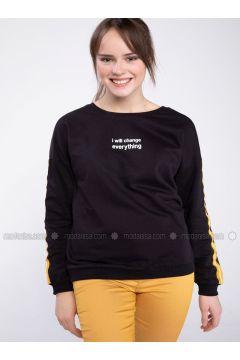Black - Sweat-shirt - DeFacto(110334548)