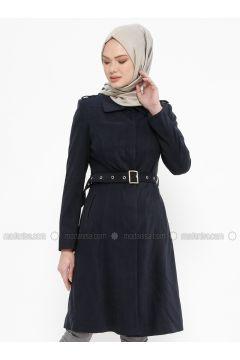 Navy Blue - Fully Lined - Point Collar - Coat - Tekbir(110335679)