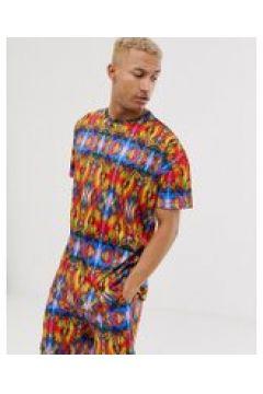 Liquor N Poker - Übergroßes T-Shirt mit neonfarbenem Kaleidoskopmuster - Rosa(91570112)