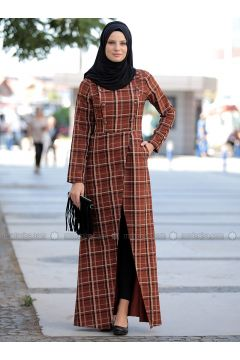 Terra Cotta - Checkered - Crew neck - Tunic - Piennar(110323148)