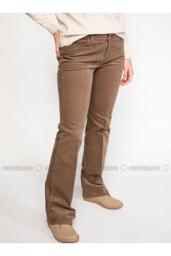 Brown - Pants - DeFacto(110325615)