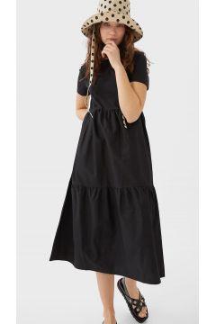 Kleid aus zwei Materialien Schwarz(113908745)