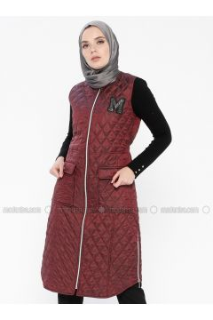 Maroon - Fully Lined - Crew neck - Vest - MY MOOD(110339227)