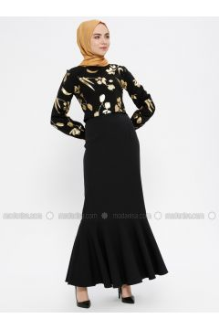 Black - Unlined - Crew neck - Muslim Evening Dress - MEKSİLA(110318190)