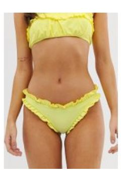 Lost Ink - Gerafftes Bikiniunterteil mit Rüschen - Gelb(95032117)