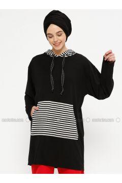 Stripe - Black - White - Sweat-shirt - Meys(110331897)