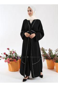 Black - Unlined - V neck Collar - Crepe - Abaya - Liolle(110323016)
