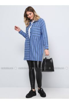 Indigo - Stripe - Point Collar - Plus Size Tunic - Alia(110312967)