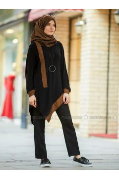 Black - Brown - Crew neck - Tunic - An-Nahar(110330040)