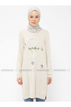 Cream - Crew neck - Wool Blend - Acrylic -- Tunic - Veteks Line(110315521)