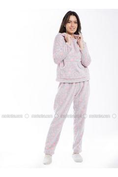 Pink - Crew neck - Multi - Pyjama - Pamuk&Pamuk(110323069)