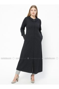 Navy Blue - Point Collar - Unlined - Plus Size Abaya - Nihan(110313253)