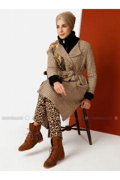Brown - Checkered - Unlined - Crew neck - Cotton - Trench Coat - Meryem Acar(110327074)