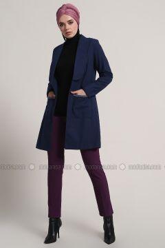 Navy Blue - Unlined - Shawl Collar - Cotton - Jacket - Refka(110313179)