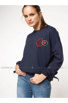 Navy Blue - Sweat-shirt - DeFacto(110335247)