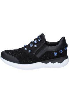 Chaussures Emanuélle Vee slip on mocassins noir textile bleu daim BX410(115442554)