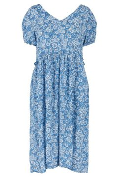 PIECES Frill Detail Midi Dress Women blue(114478201)
