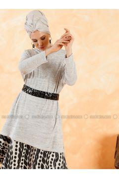 Gray - Polo neck - Cotton -- Tunic - Muni Muni(110327889)