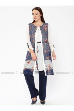 Navy Blue - Multi - Crew neck - Tunic - Le Mirage(110338975)