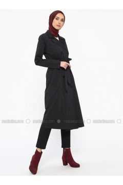 Navy Blue - Unlined - Shawl Collar - Cotton - Trench Coat - Tavin(110331614)