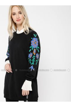 Cotton - Crew neck - Black - Sweat-shirt - Minimal Moda(110331249)