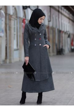 Gray - Shawl Collar - Coat - Piennar(110335016)