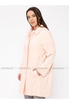 Pink - Unlined - Point Collar - Linen - Jacket - Minimal Moda(110331334)